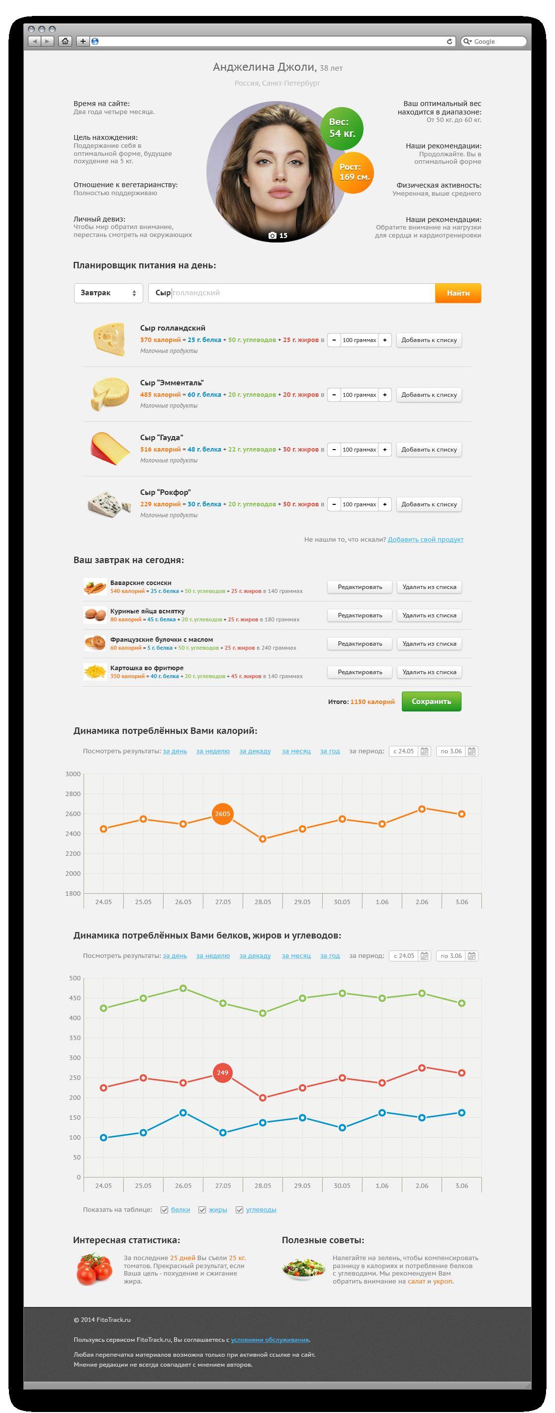 Дизайн сервиса здорового питания и упражнений - дизайнер UltraKruto