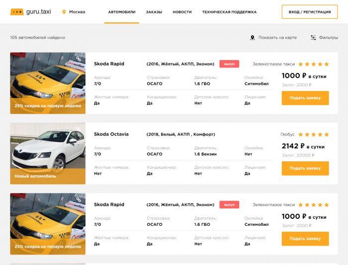 Разработка интерфейса результатов выдачи авто - дизайнер TobiX