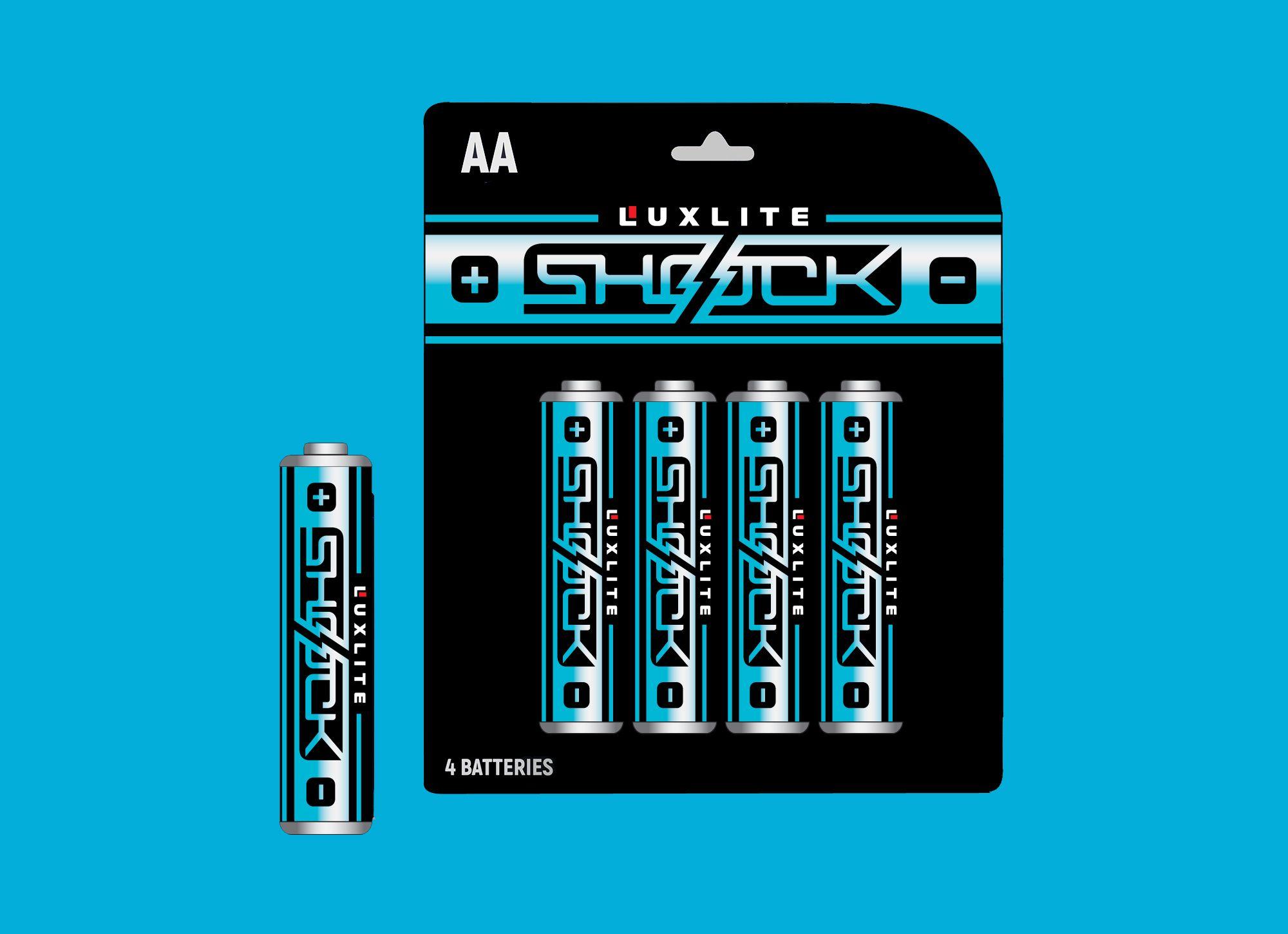 Логотип для батареек LUXLITE SHOCK - дизайнер shamaevserg