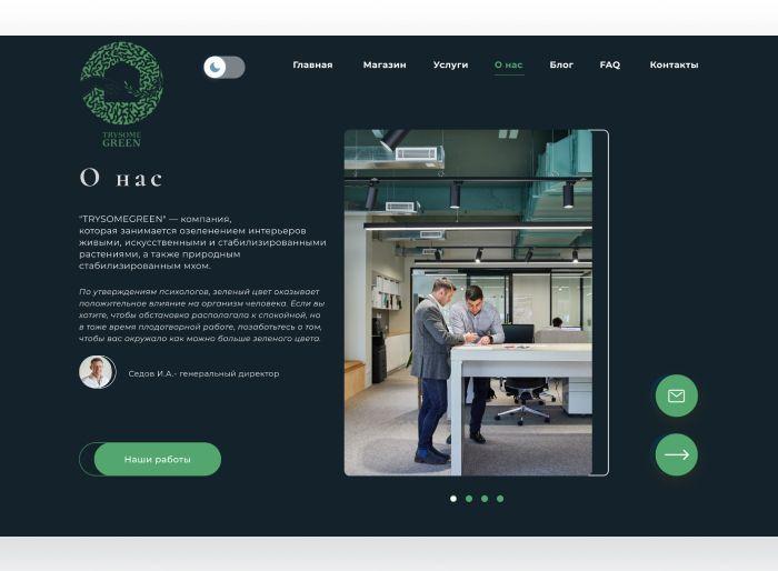 Веб-сайт для TrySomeGreen - дизайнер Helen1303