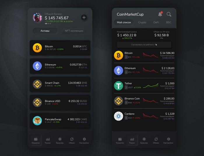 Криптовалютный кошелек Wise Win - дизайнер maxl-design